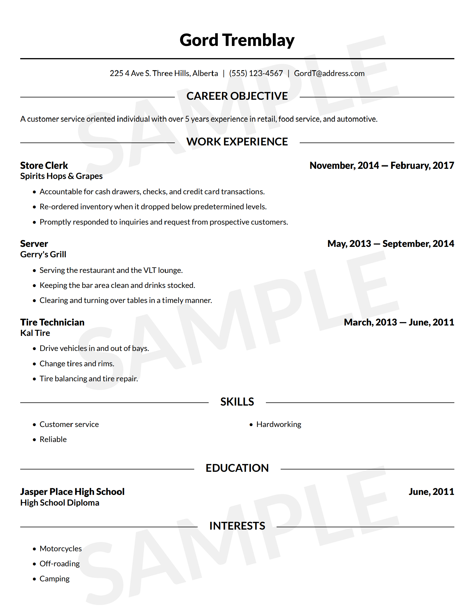 sample resume - Canadian Resume Builder
