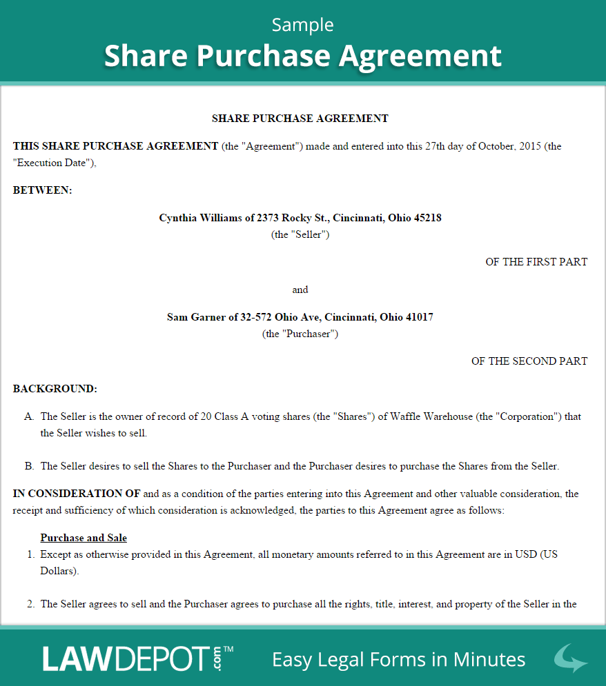 Share Purchase Agreement Sample